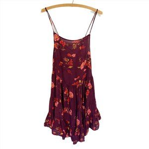 Free People Circle of Flowers Slip Dress Cranberry